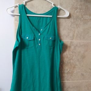Sonoma small teal button pocket tank top layering